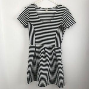 J Crew Black and White Striped A-line Dress